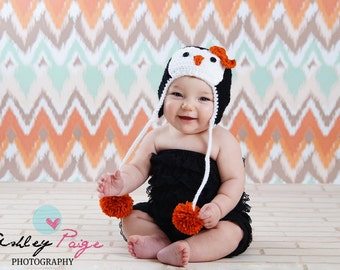 Pretty Little Penguin Hat, Crochet Penguin Hat, Baby, Toddler, Child - Made To Order - Great For Photos or Everyday Fun