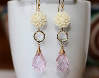 Dahlia Flower Lavender Pink Drops Long Earrings, Feminine, Classic, Bridal Shop, Weddings, Fashion Jewelry, Mother of the Bride, Groom