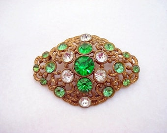 Vintage Green & Crystal Rhinestone Brooch