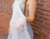 white transparent soft mohair bouclee scarf handknitted