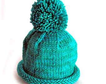 Hand Knit Pom Pom Baby Hat, Merino Wool Cashmere Yarn, Turquoise Teal Blue Green