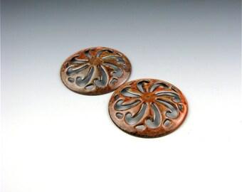 Enameled Pinwheel Focal or Cab /  Autumn Enamel / Made to order