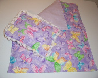 Doll bedspread/blanket with matching pillow-purple.