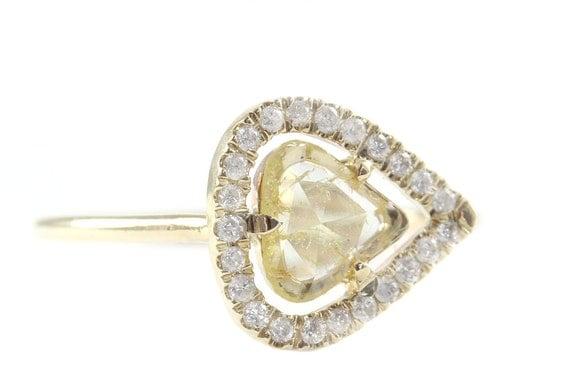 Diamond Slice  Ring, Yellow 14K Gold Ring, Engagement Ring, Modern Engagement Ring, Rose Cut Diamond Ring, Yellow diamond, Tula Jewelry
