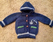 Hand knit Seattle Seahawks baby sweater made to order 0-12 months