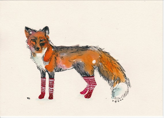"Fox in Socks - 5"" x 7"" print"