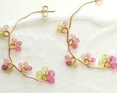 Pink Tourmaline Earrings, Gold Branch Vine Hoop, Nature Jewelry
