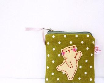 cat pouch, coin purse, cat coin purse, cat purse, coin wallet, linen pouch, linen coin purse cat change pouch, cute coin purse, polka dot