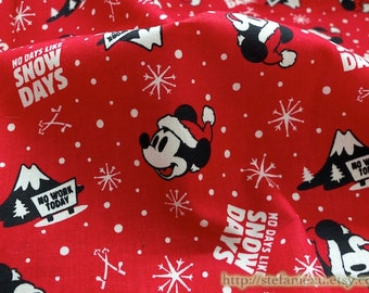 Cartoon Characters, Lovely Red Hat Winter Christmas Holiday Micky Mouse-Cotton Fabric (1/2 Yard)