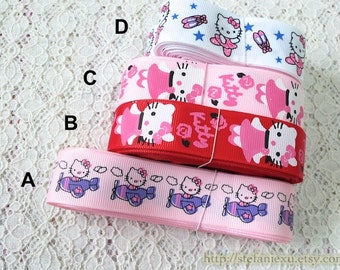 Grosgrain Gift Ribbon - Printed Airplane Rose Floral Ballerina Dancing Cat Collection, Choose Pattern (1 Yard, W2.5CM)