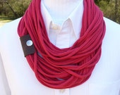 Red Infinity T shirt Scarf with Leather Cuff
