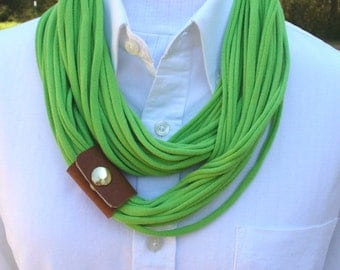 Infinity T Shirt Scarf in Lime Green With Leather Cuff