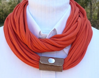 Orange T Shirt Infinity Scarf with Leather Cuff