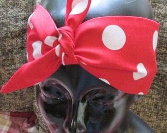 "Big red polka dot hair wrap head band ""Rosie"" pinup rockabilly original pattern"