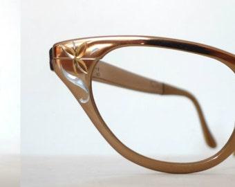 Vintage NOS Aluminum Cat Eye Eyeglass Frame Vintage 50s 60s Tura Eyewear Floral Metal Designer Midcentury MCM Sunglasses STarlet Rockabilly