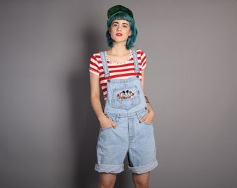 90s MICKEY MOUSE Denim OVERALLS / 1990s Stone Wash Jeans Shorts Romper, xs - m