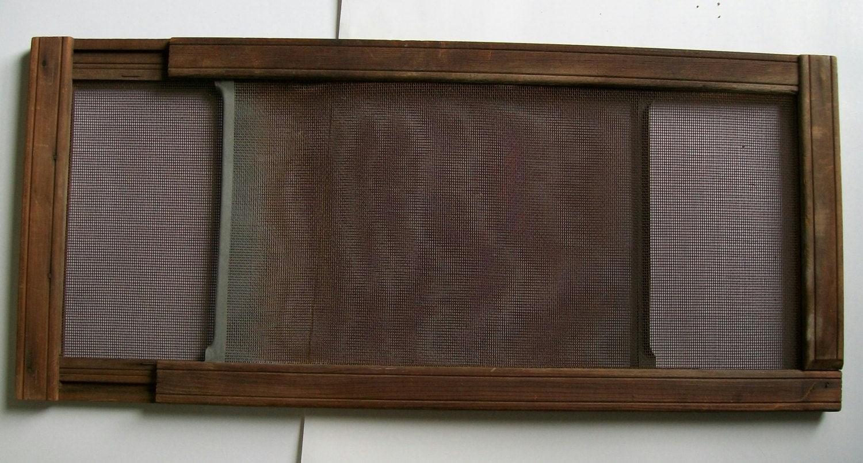 Old wood window screen adjustable sliding screen industrial for Window screen