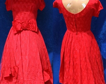 Vintage Red Illusion Lace Prom Cocktail Party Pinup Rockabilly 50s 1950s Retro Women Dress small Tulle