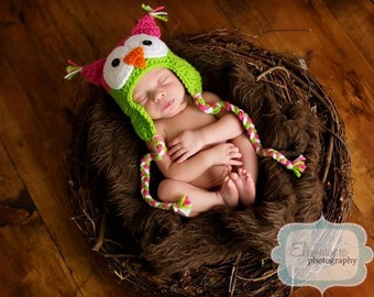 Infant Crocheted Owl Earflap Hat- Photo Prop