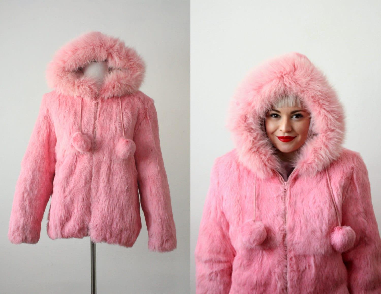 vintage pink rabbit fur jacket by 1919vintage on Etsy