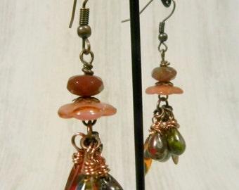 Copper Dagger Dangle Earrings - Orange Picasso