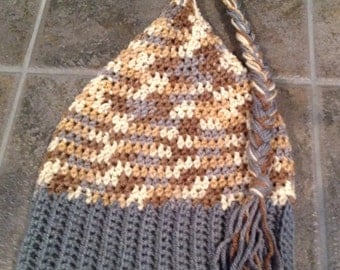 Crochet Adult Elf/ Pixie hat in grey and tan