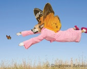 Follow Your Dreams, large original photograph of boxer dog in pink bathrobe following a monarch butterfly