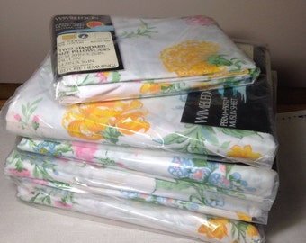 2 Vintage Twin Sheet Sets Floral Sears Wimbledon