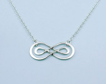 Sterling Silver Infinity Necklace, Double Infinity,  Friendship, Love, Infinity Best Friends Jewelry, Sisters, Mom, Eternal Love