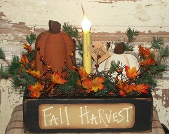 Rustic Fall Box with Primitive Pumpkin Light Arrangement-Table Arrangement-Fall Harvest-Primitive Fall Decor- HandmadeDecoration