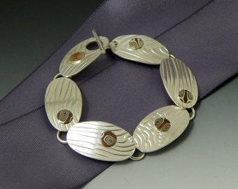 Sterling Silver and Copper Mokume Gane Link Bracelet