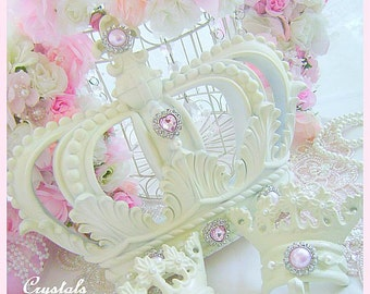Shabby Chic French Ivory Bed Crown Canopy Set Fleur De Lis Pink Rhinestones Pearls Wall Crown