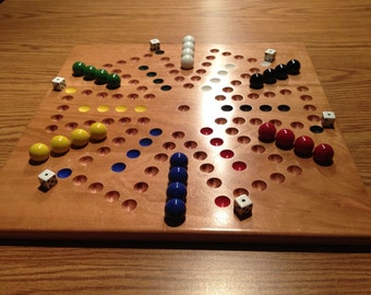 Deluxe SIX Player Solid Cherry Aggravation Game Board