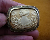 1930's style Woman with wavy hair flowers rectangle carved shell CAMEO pin brooch c1350