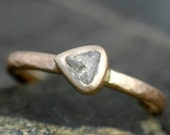 Transparent Rough Diamond in 14k or 18k  Recycled Gold Ring- Custom Engagement Ring