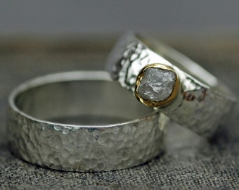 Conflict-free Rough Diamond Ring in 22k Yellow Gold and Hammered Sterling Silver with Matching Wedding Band