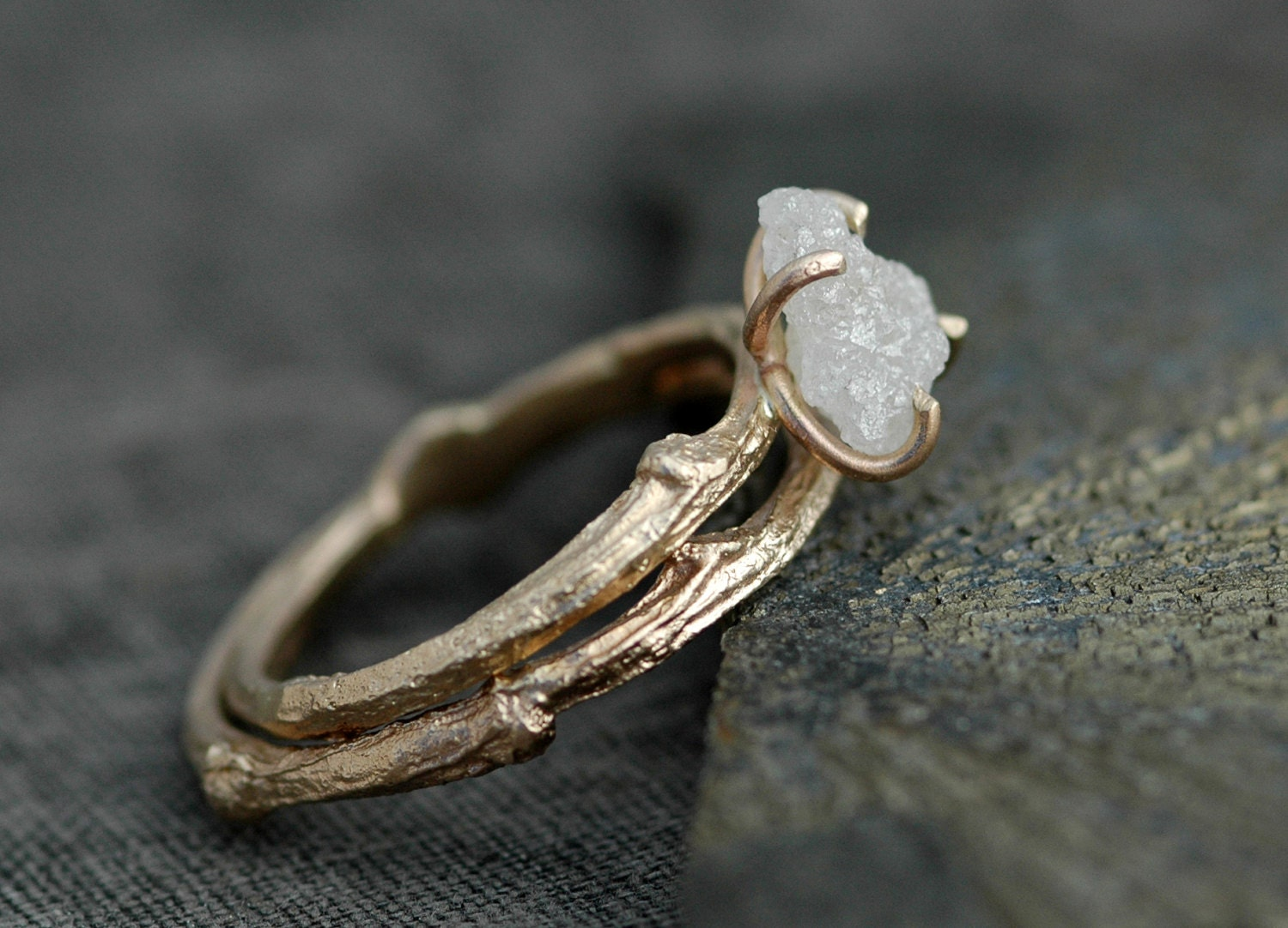 branch wedding ring and 14k gold branch ring twig band custom 2055