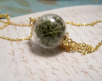 Tiniest Terrarium Necklace. Handblown Glass Globe with Preserved Reindeer Moss
