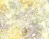 DAISY GARDEN CREAM Batik Fabric by Bavarian Batiks - 1 Yard for quilting clothing construction sewing