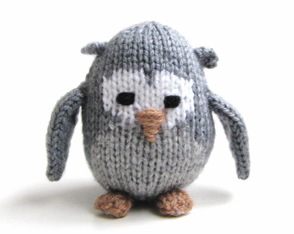 Knit Miniature Gray Owl Amigurumi Doll Woodland by VeryCarey
