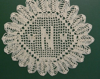 "Handmade Custom Crocheted Initial Doilies ""N"""
