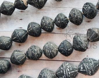 Handmade Old African Clay Handmade Focal Bead 18 mm Dark Brown Bicones