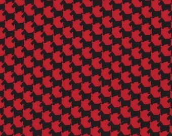 Michael Miller Fabric Scottie Houndstooth Red Black