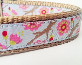 Little Blossoms - Dog Collar / Adjustable / Pet Accessories / Handmade / Pet Lover / Gift Idea / Cherry Blossoms