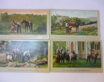 Antique Postcards, Early 1900s, Cheyenne, Shy Ann, Series, De Witt C. Wheeler, Theochrom Series 1807