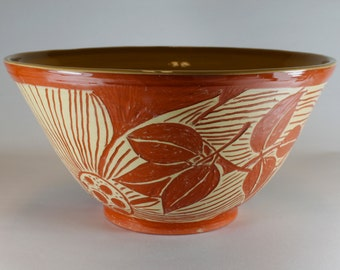 Handmade Pottery Bowl, Terracotta and Tan Bowl, Hand Thrown, Sgraffito Carved, Floral and Leaf. SKU149-3