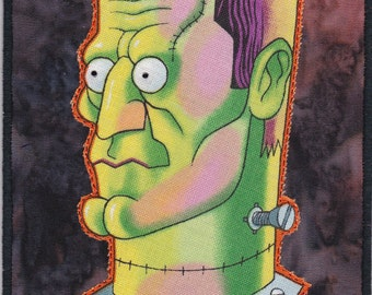 Frankenstein Quilted Fabric Postcard