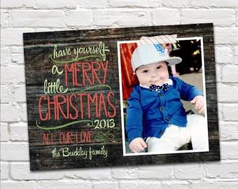 Photo Christmas Card : Rustic Wood Modern Custom Photo Holiday Card Printable