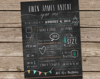 One Year Old Stats and Year in Review Birthday Card or Poster Printable - Digital File
