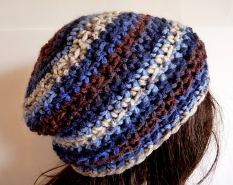 Crochet Brown, Blue, Grey Beanie for Fall and Winter, Sized for Teens and Adults